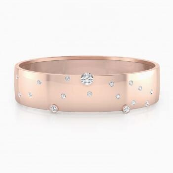 Brazaletes de oro rosa de 18k con 17 diamantes