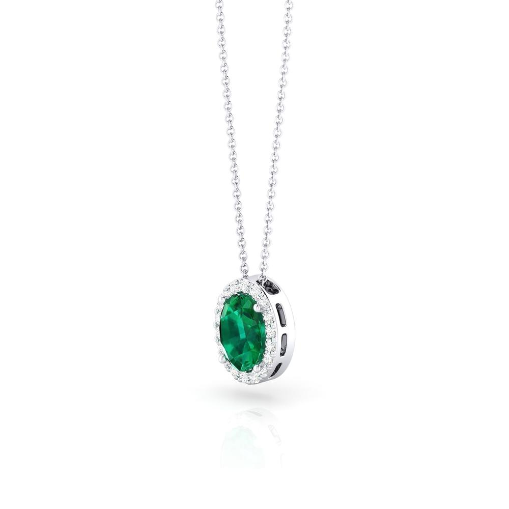 Colgante de oro blanco con esmeralda y diamantes
