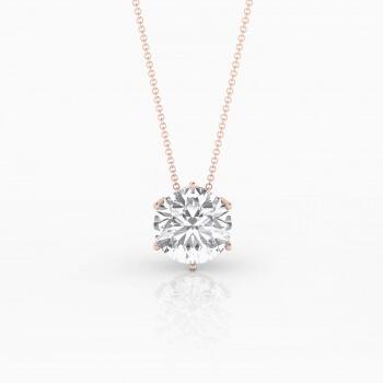 Collar de oro rosa de 18k con 1 diamante