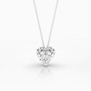 Collar en oro blanco 18k con 1 diamante talla corazón