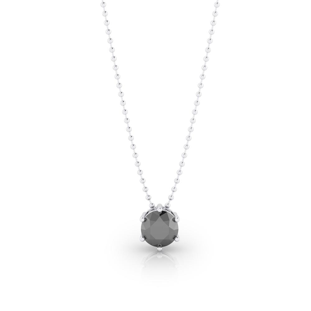 Collar de plata con diamante negro