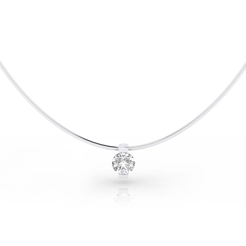 Collares de oro blanco de 18k con 1 diamante