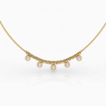 Collares de oro amarillo de 18k con 5 diamantes