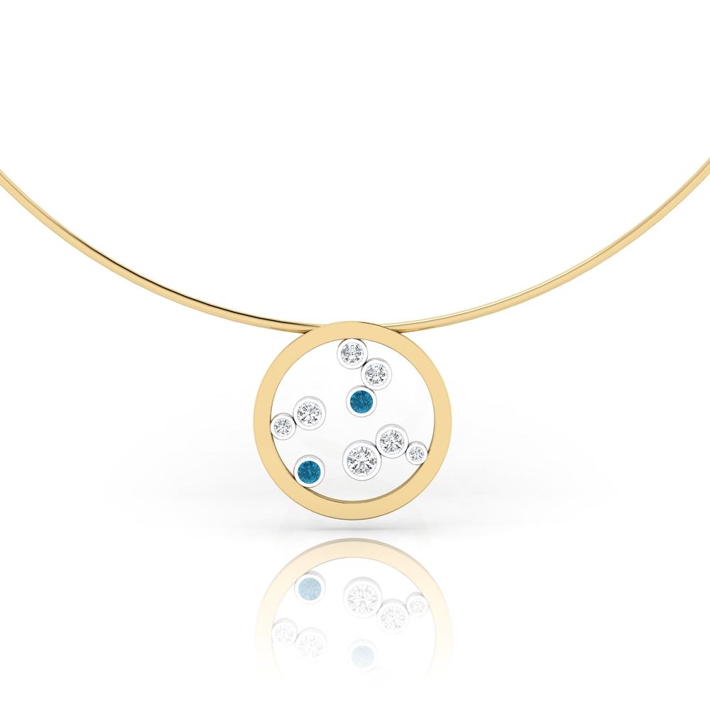 Collares de oro amarillo de 18k con 7 diamantes