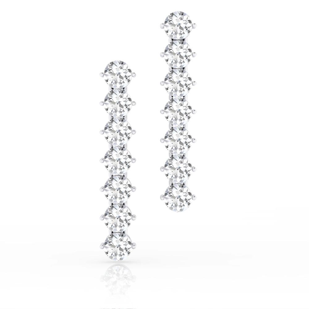 Pendientes con 14 diamantes de oro blanco de 18k