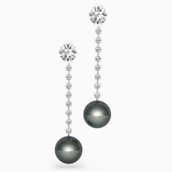 Pendientes de oro blanco de 18k con 2 diamantes y perlas