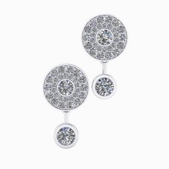 Pendientes de oro blanco de 18k y 50 diamantes