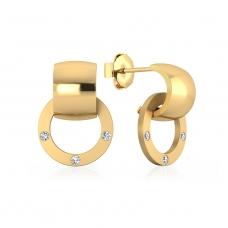 Pendientes de oro amarillo de 18k con 6 diamantes