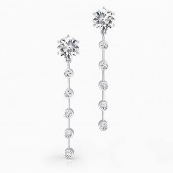 Pendientes de oro blanco de 18k con 12 diamantes