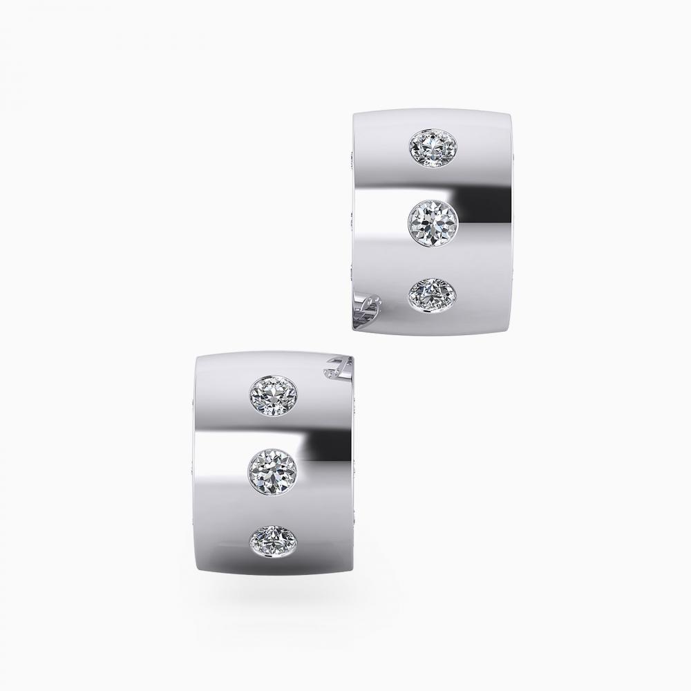 Pendientes de oro blanco de 18k con 18 diamantes