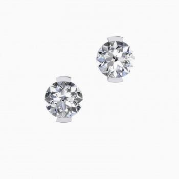 Pendientes de oro blanco de 18k con 2 diamantes