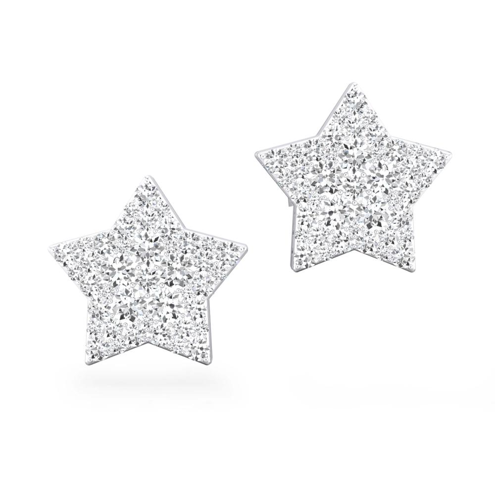 Pendientes de oro blanco de 18k con 22 diamantes