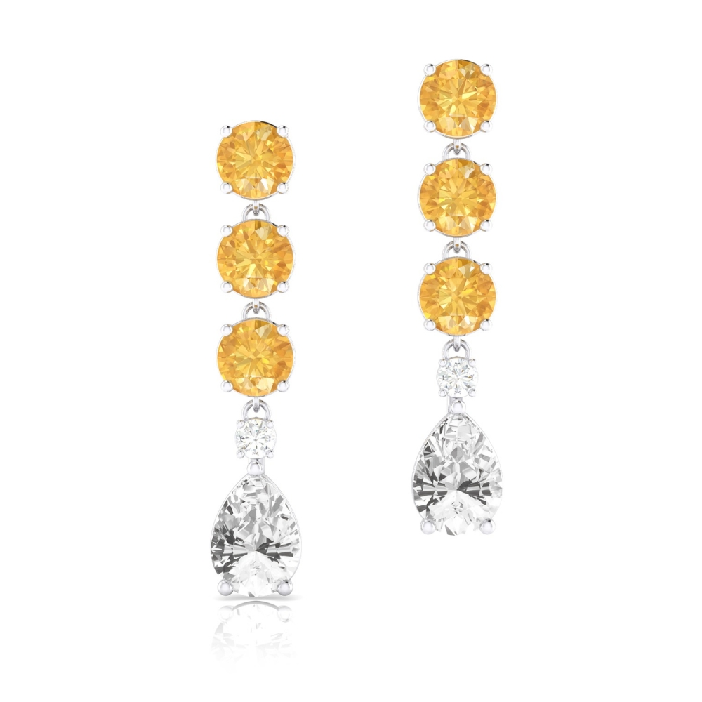 Pendientes largos de oro 18k con Cuarzos Citrino, Topacio y diamantes