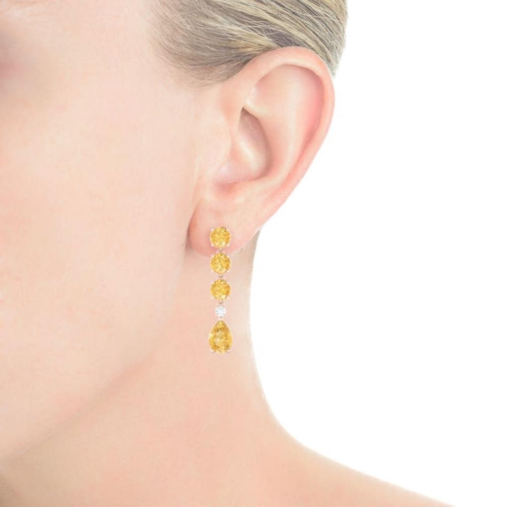 Pendientes largos de oro rosa de 18k con Cuarzos Citrino y diamante