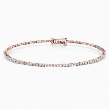 Pulsera riviere de diamantes oro rosa de 18kt con diamantes de 0,01ct