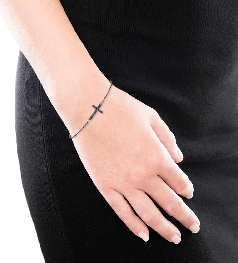 Pulsera en plata de ley con forma de cruz