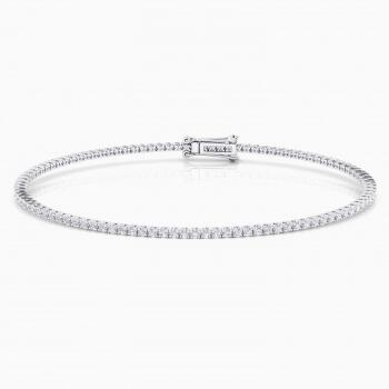 Pulsera riviere de diamantes de oro blanco 18kt con diamantes de 0,01ct - grapa redonda