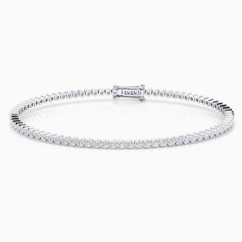 Pulsera riviere de diamantes oro blanco de 18kt con diamantes de 0,017ct - montura chatón