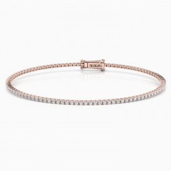 Pulsera riviere de diamantes oro rosa de 18kt con diamantes de 0,01ct - grapa redonda