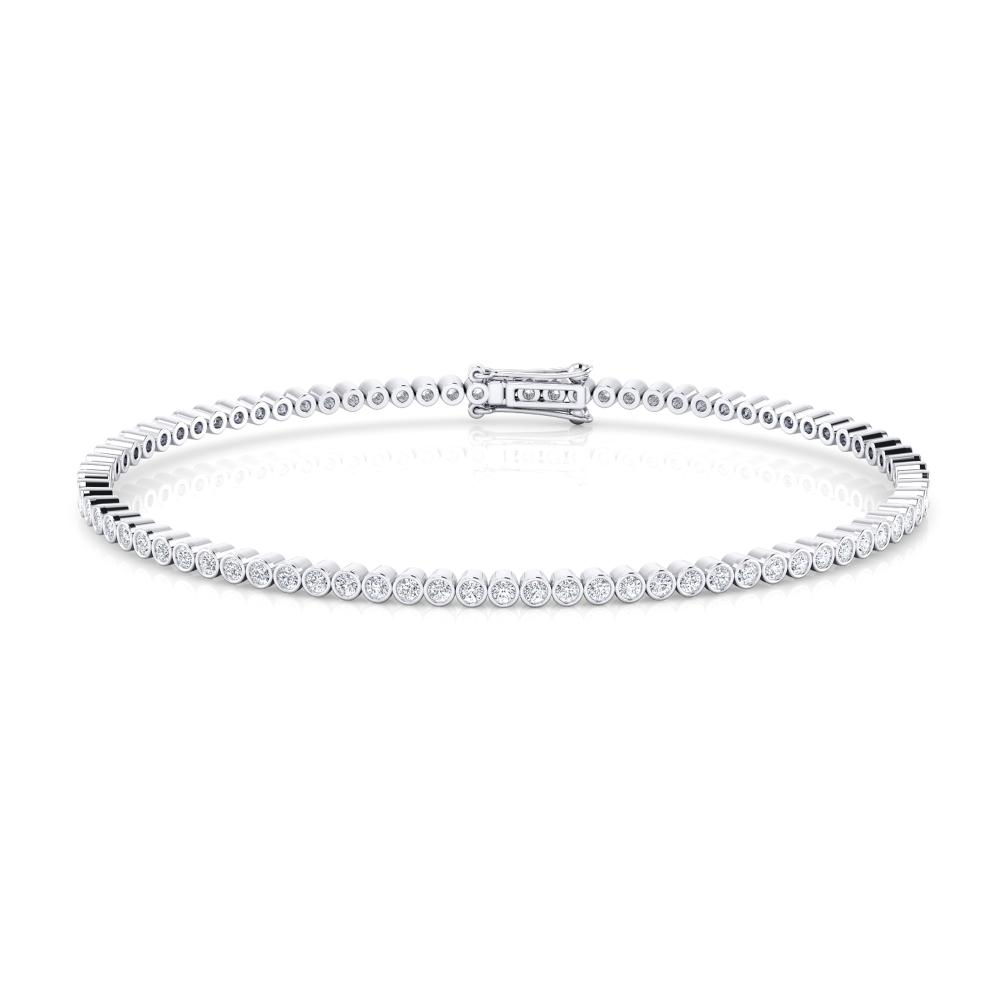 Pulsera riviere de diamantes oro blanco de 18kt con diamantes de 0,017ct