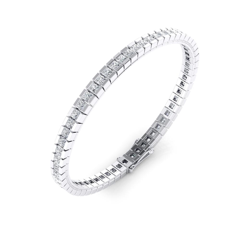 Pulsera riviere de diamantes oro blanco de 18kt con diamantes talla princesa de 0,082ct