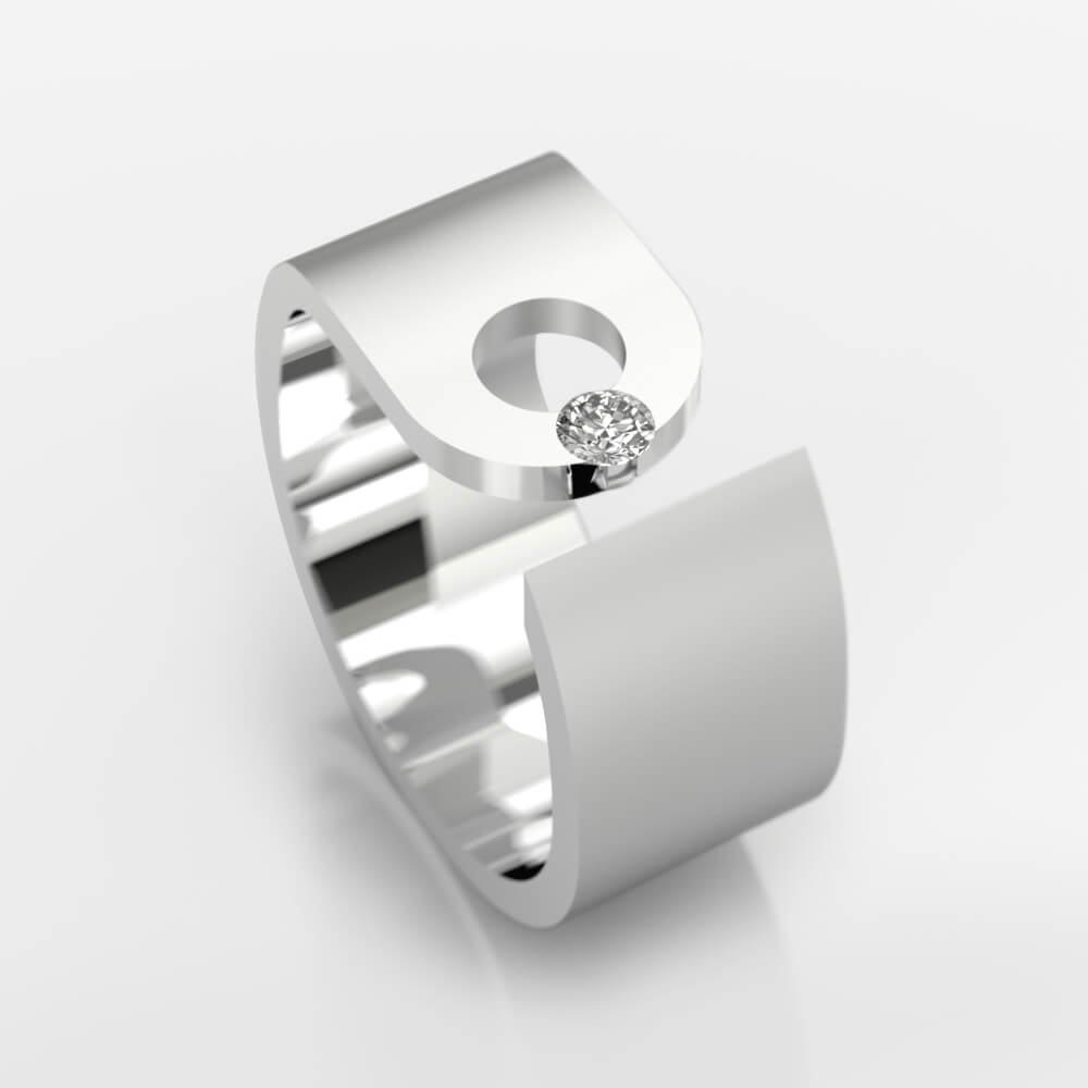 Diamond Ring 18k white gold with 1 brilliant cut diamond
