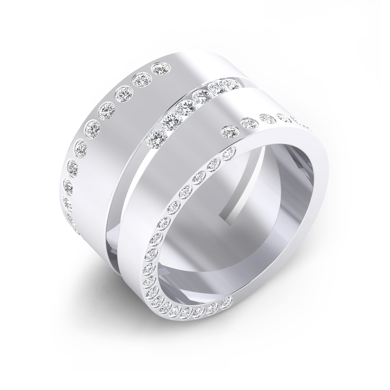 Anillo de diamantes de oro blanco de 18k con 80 diamantes