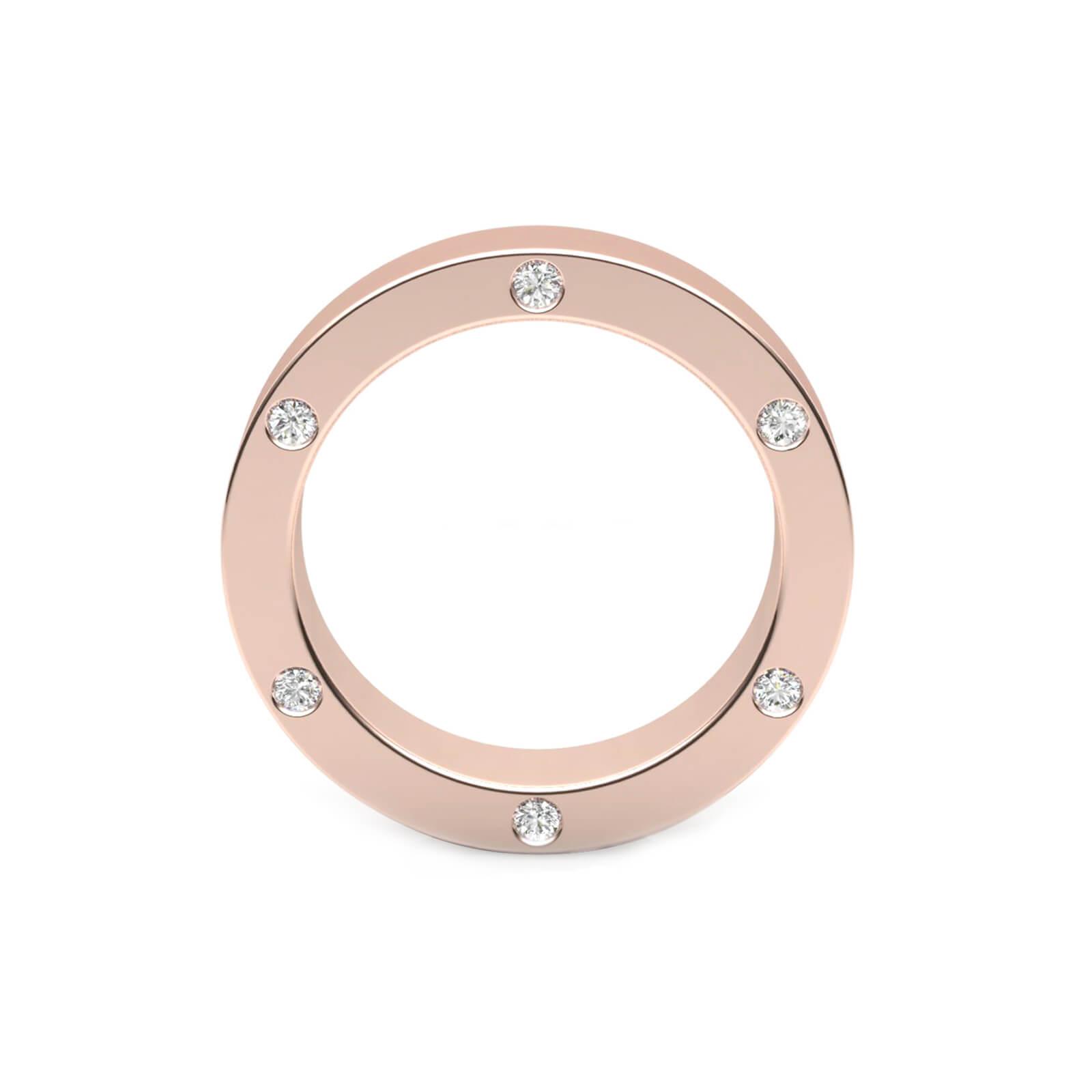 Wedding Ring 18k pink gold with 6 brilliant cut diamond