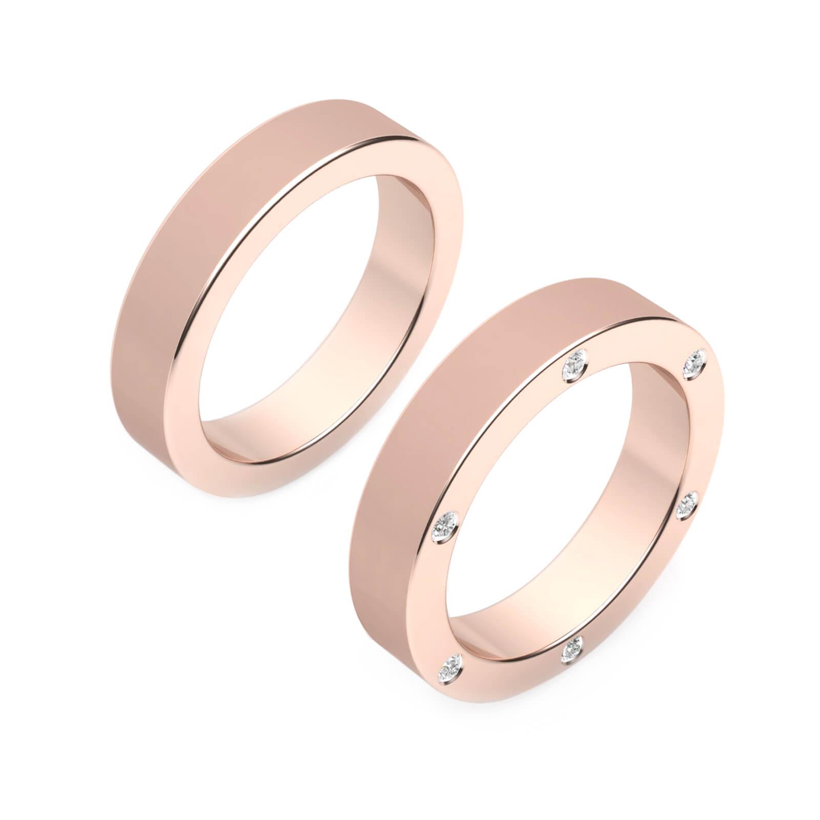 Alianza de boda de oro rosa de 18k con 6 diamantes