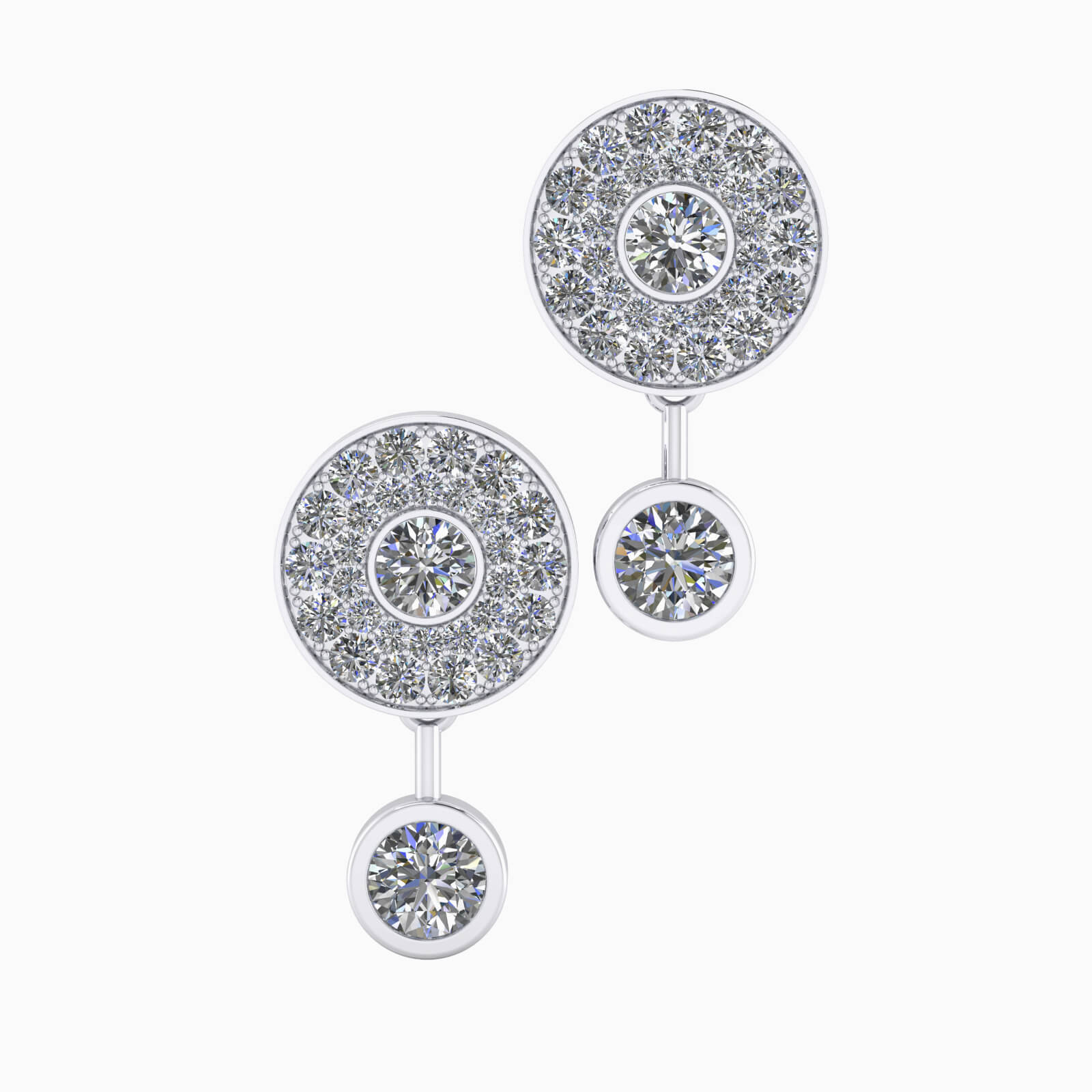 Earrings 18k white gold with 50 brilliant cut diamond
