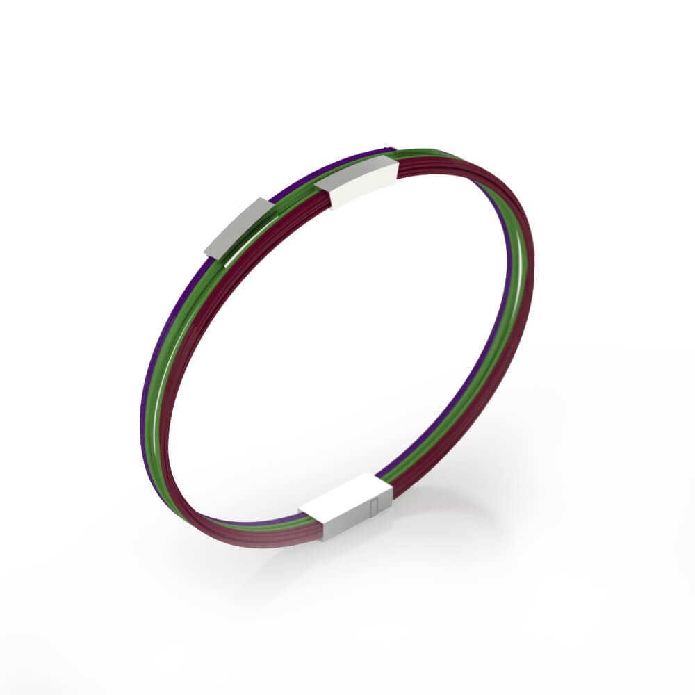 Bracelets for men made of silver and steel wires of different colors
