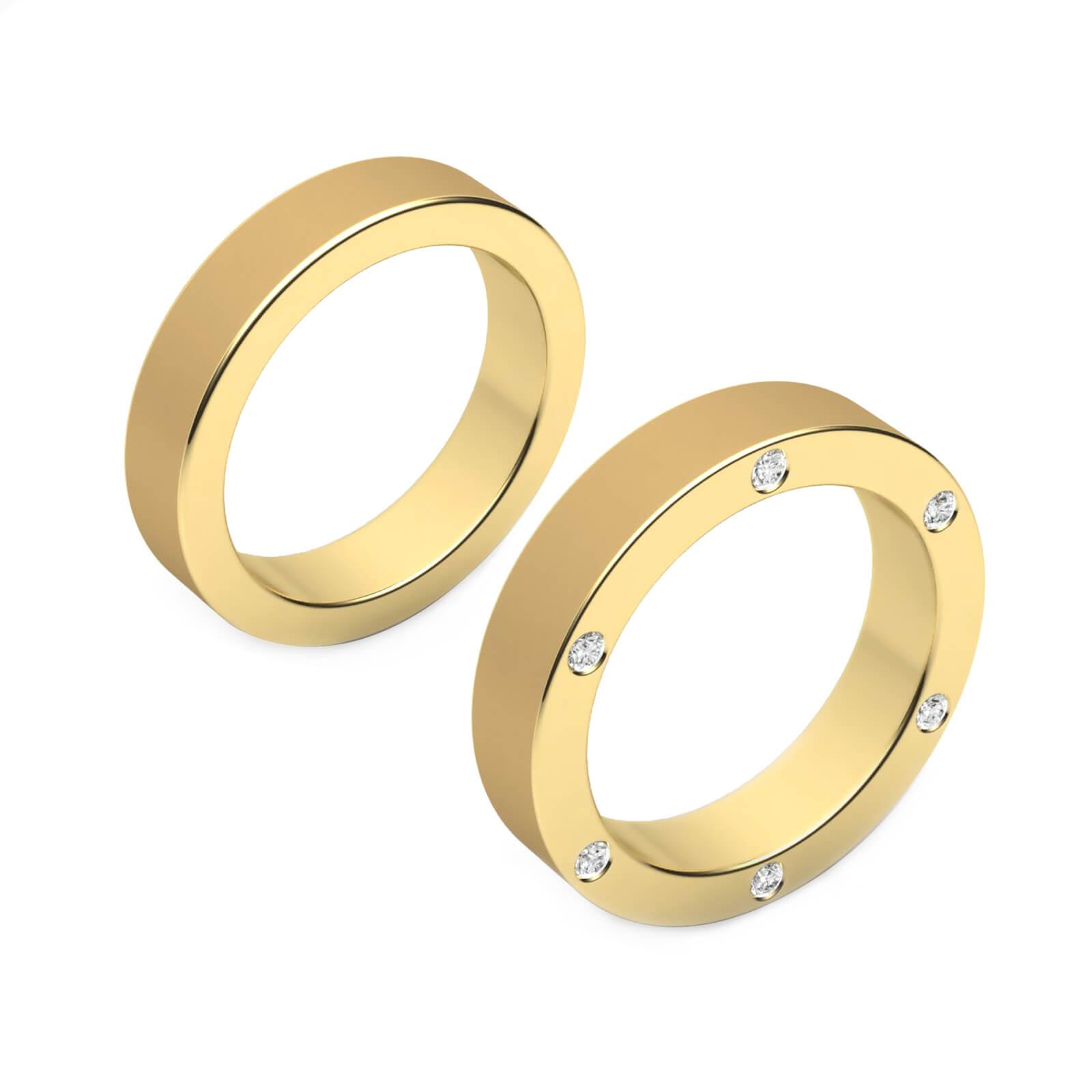 Wedding Ring 18k yellow gold with 6 diamonds