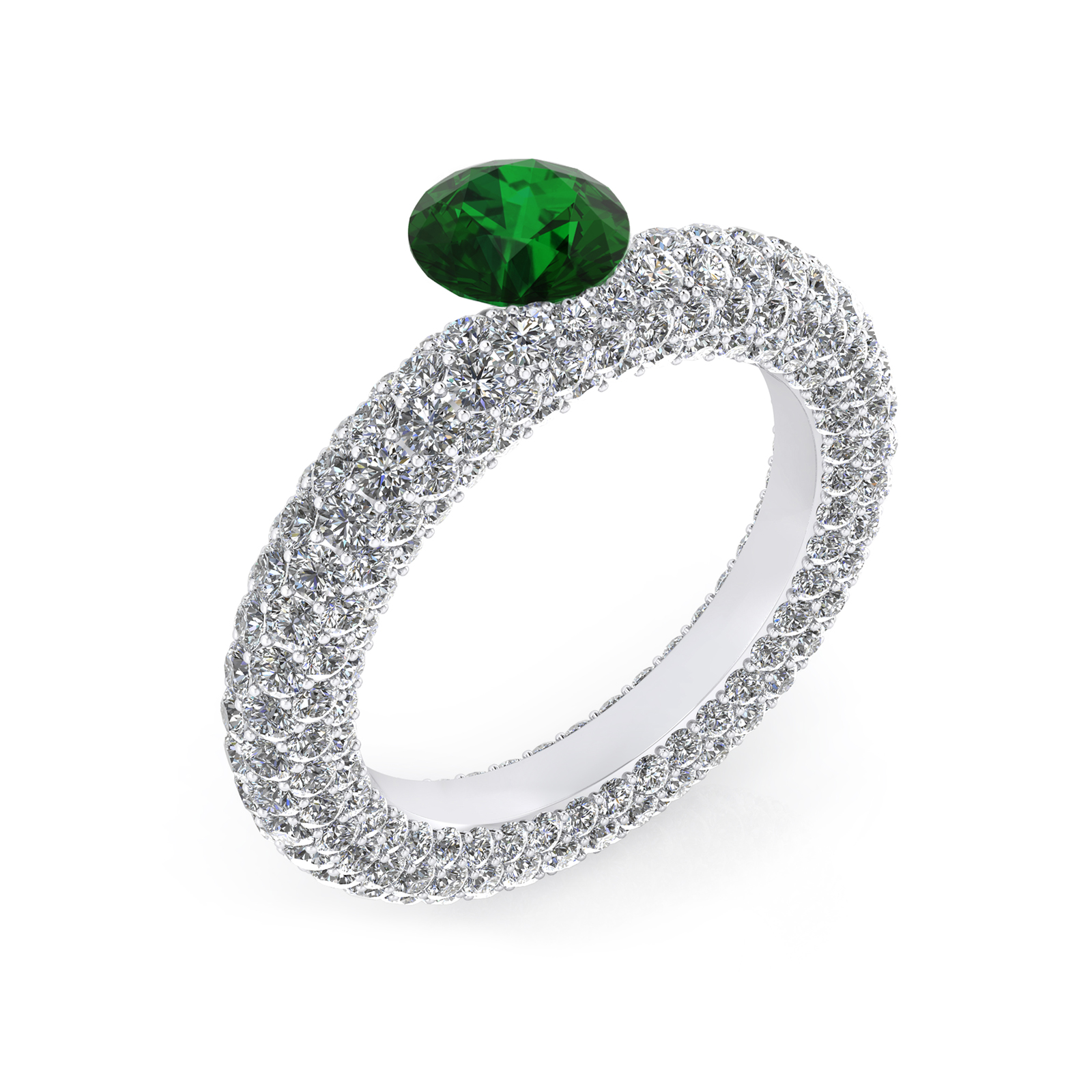 White gold engagement rings with 143 diamonds and a natural Emerald