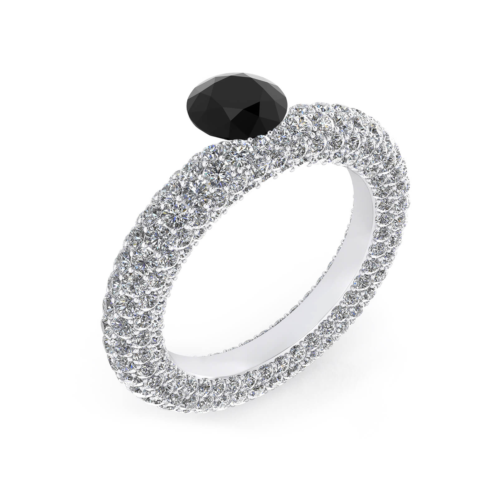 Ring with 143 diamonds and a magnificent black diamond