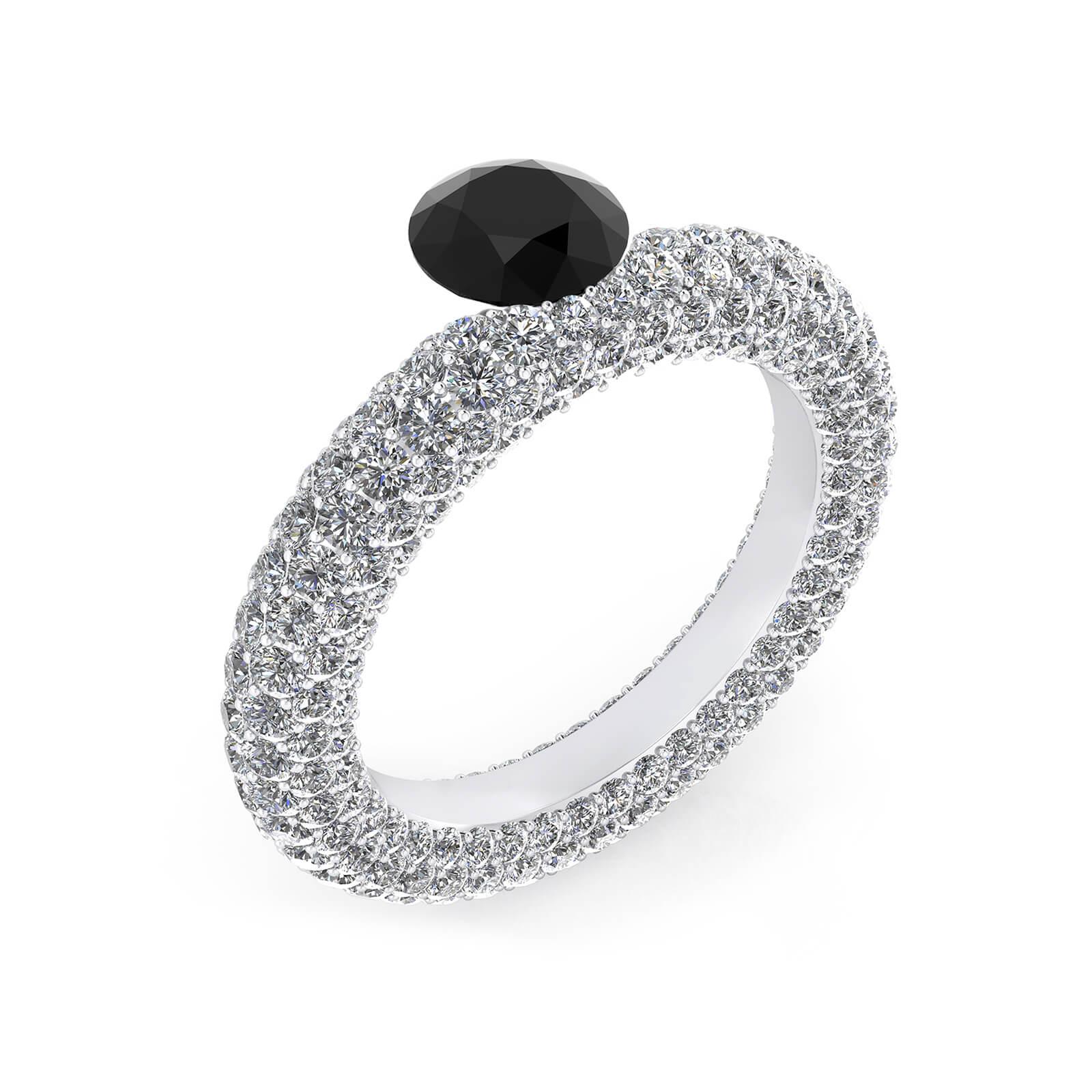Anells d'or blanc amb diamant negre i 143 diamants