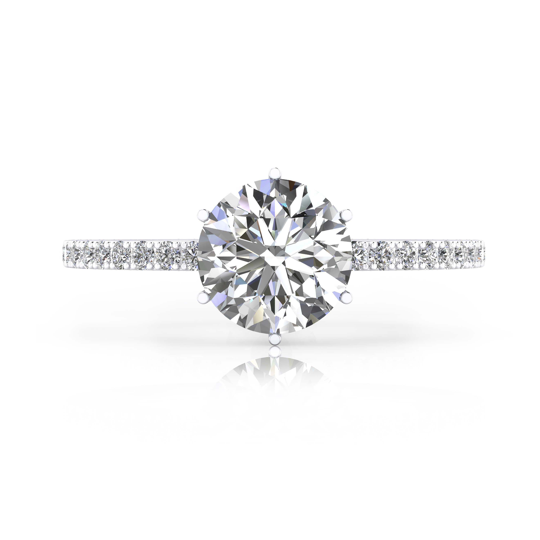 Anillo de compromiso en oro blanco con 40 diamantes y 1 diamante talla brillante