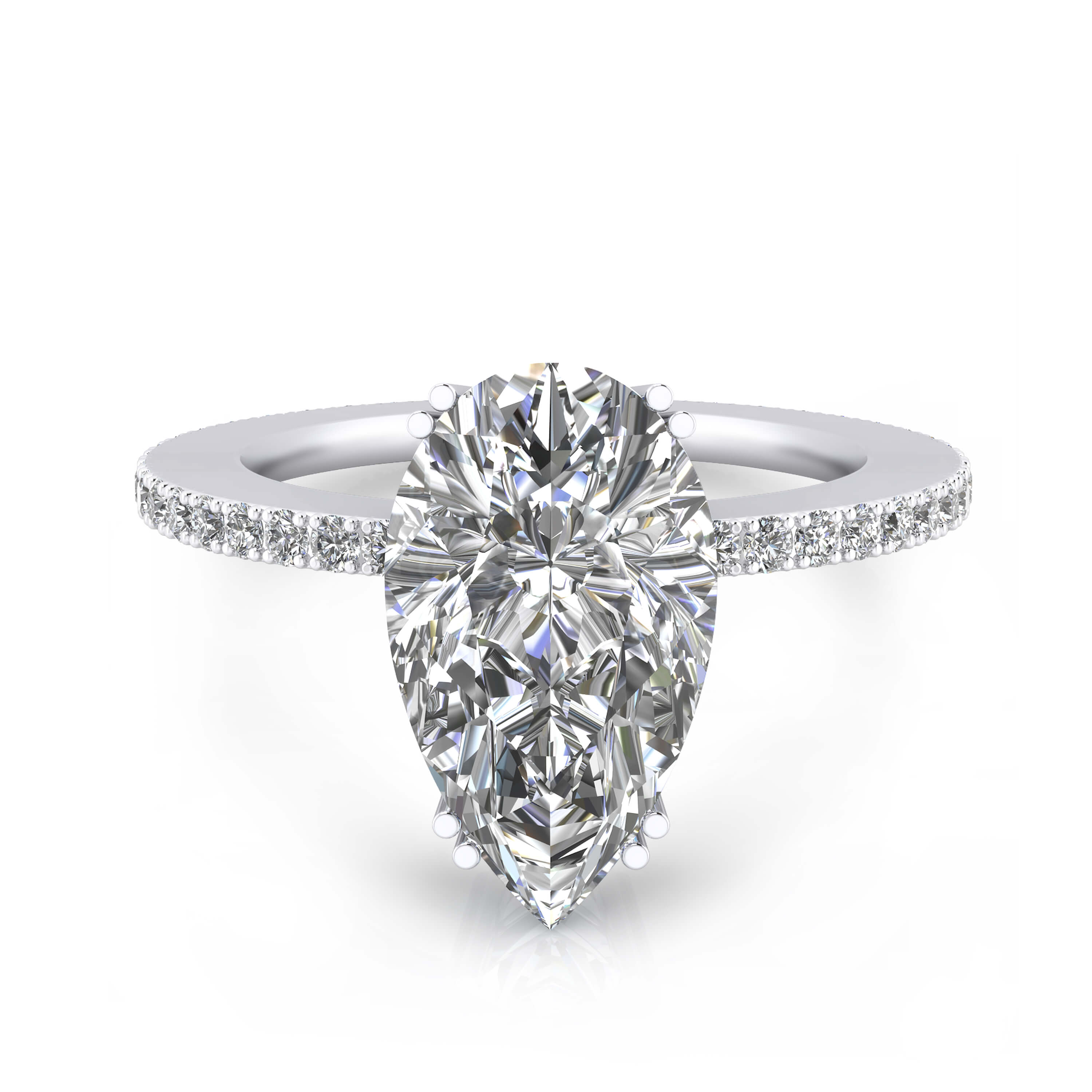 White gold engagement rings with 40 diamonds and a pear cut shape diamond