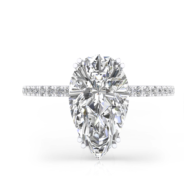 Anells de Compromís or blanc amb 40 diamants i 1 diamant talla Pera