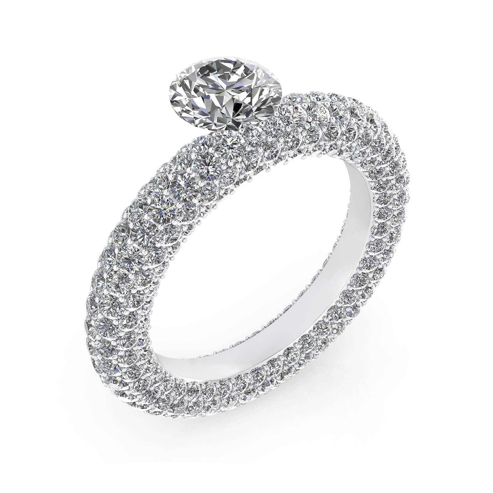 Engagement Rings white gold with 143 diamonds and a central diamond