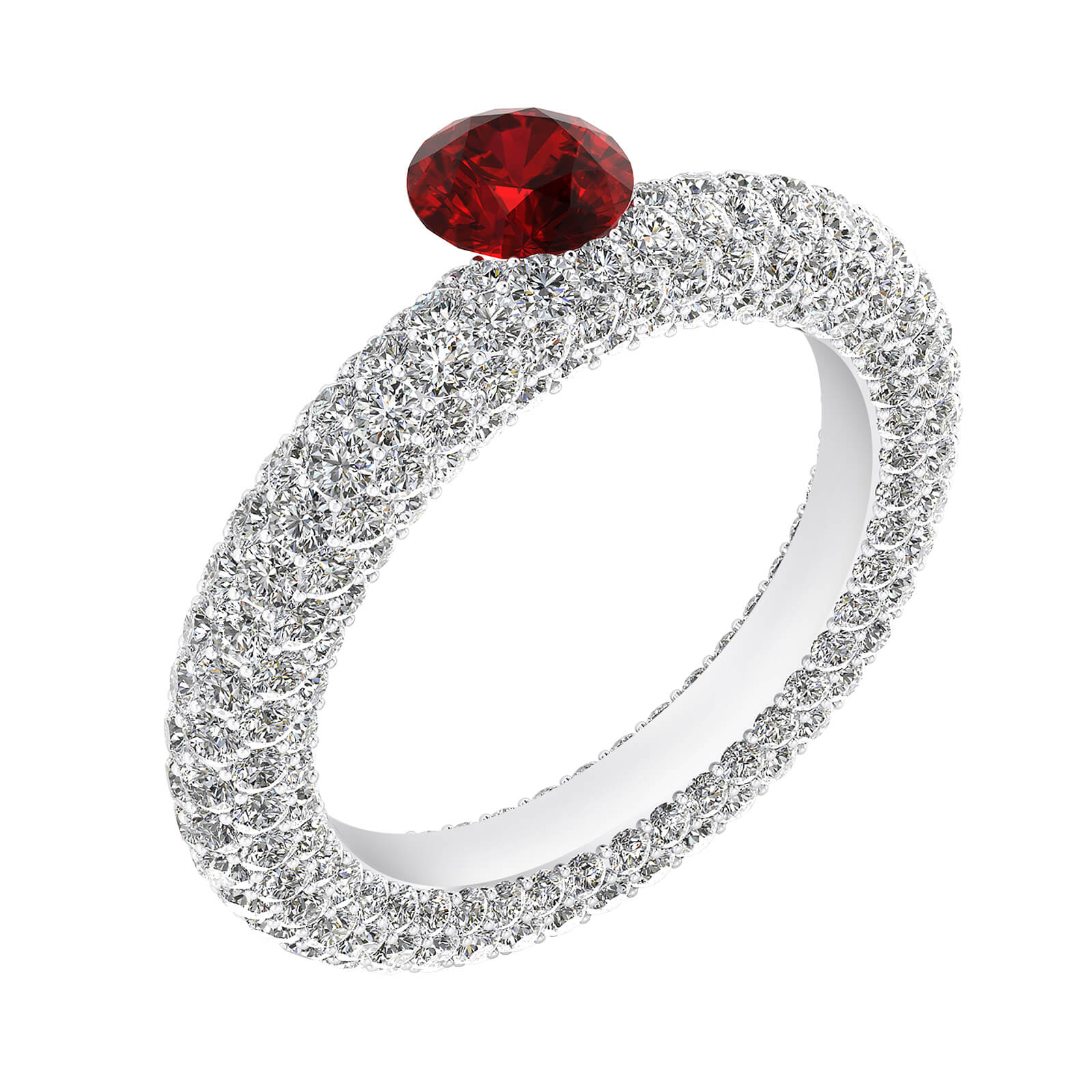 Engagement Rings white gold with 143 diamonds and a natural Burma ruby