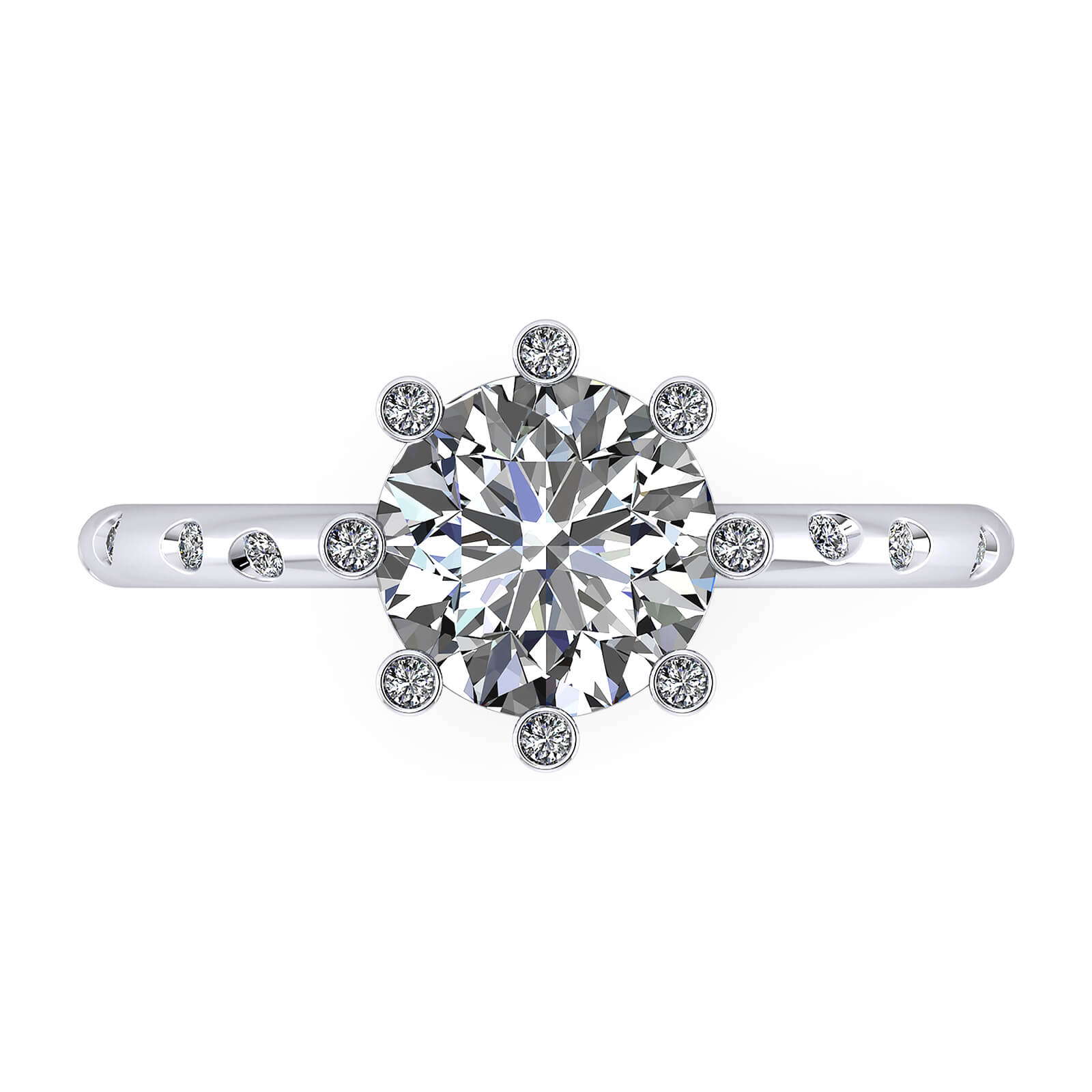 Engagement rings white gold with 16 diamonds and a central diamond
