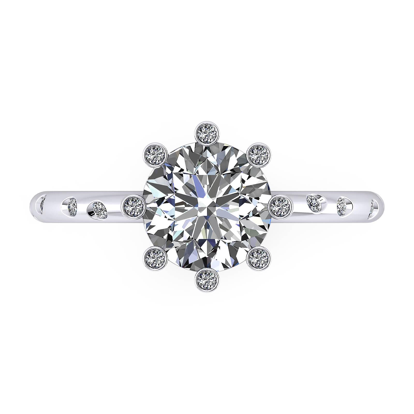 Anells de compromís or blanc amb 16 diamants i 1 diamant central