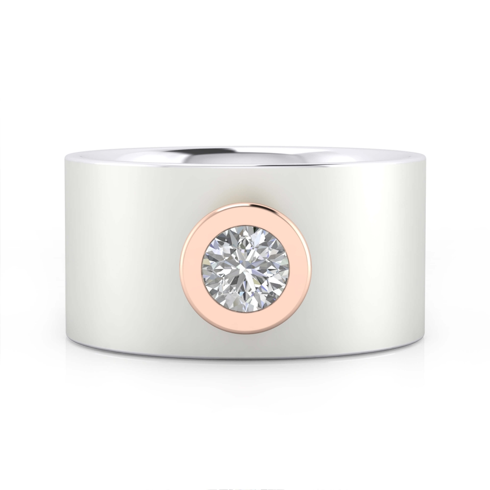 Diamond Ring 18k white gold with pink gold mount