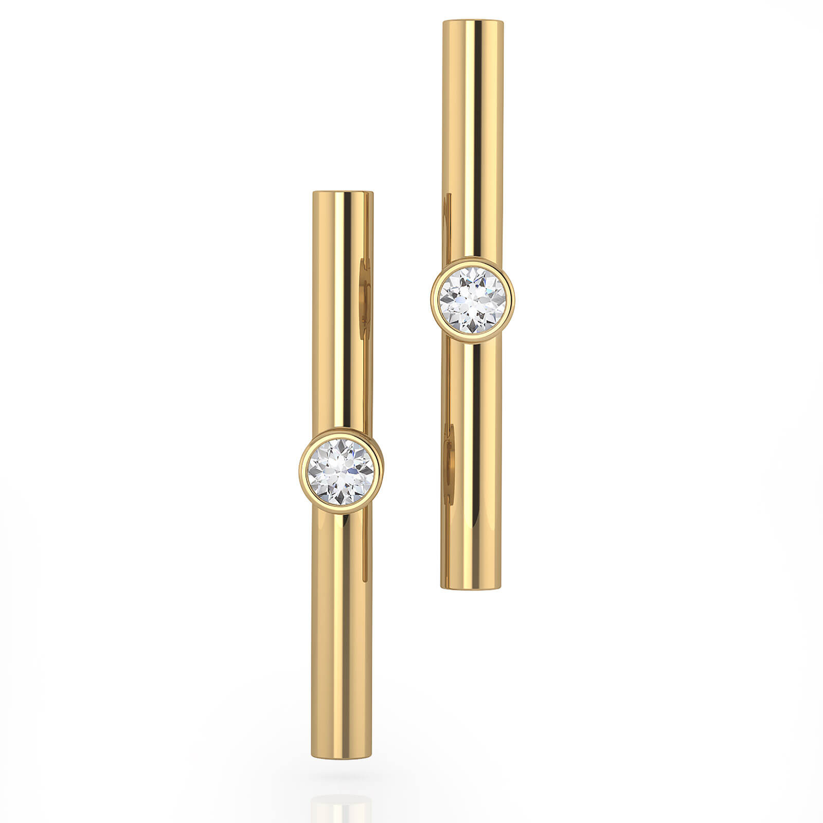 Earrings 18k yellow gold with 2 diamonds