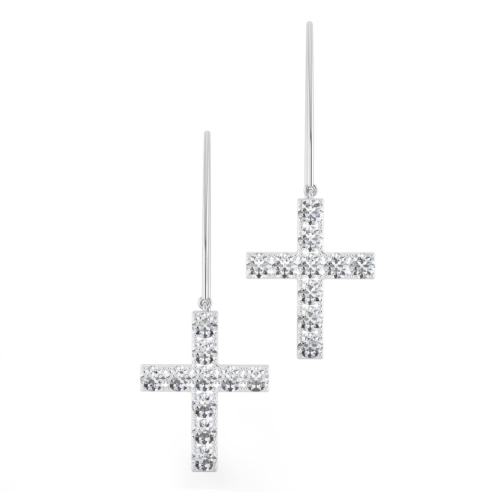 Pendientes de oro blanco de 18k con 20 diamantes en forma de cruz