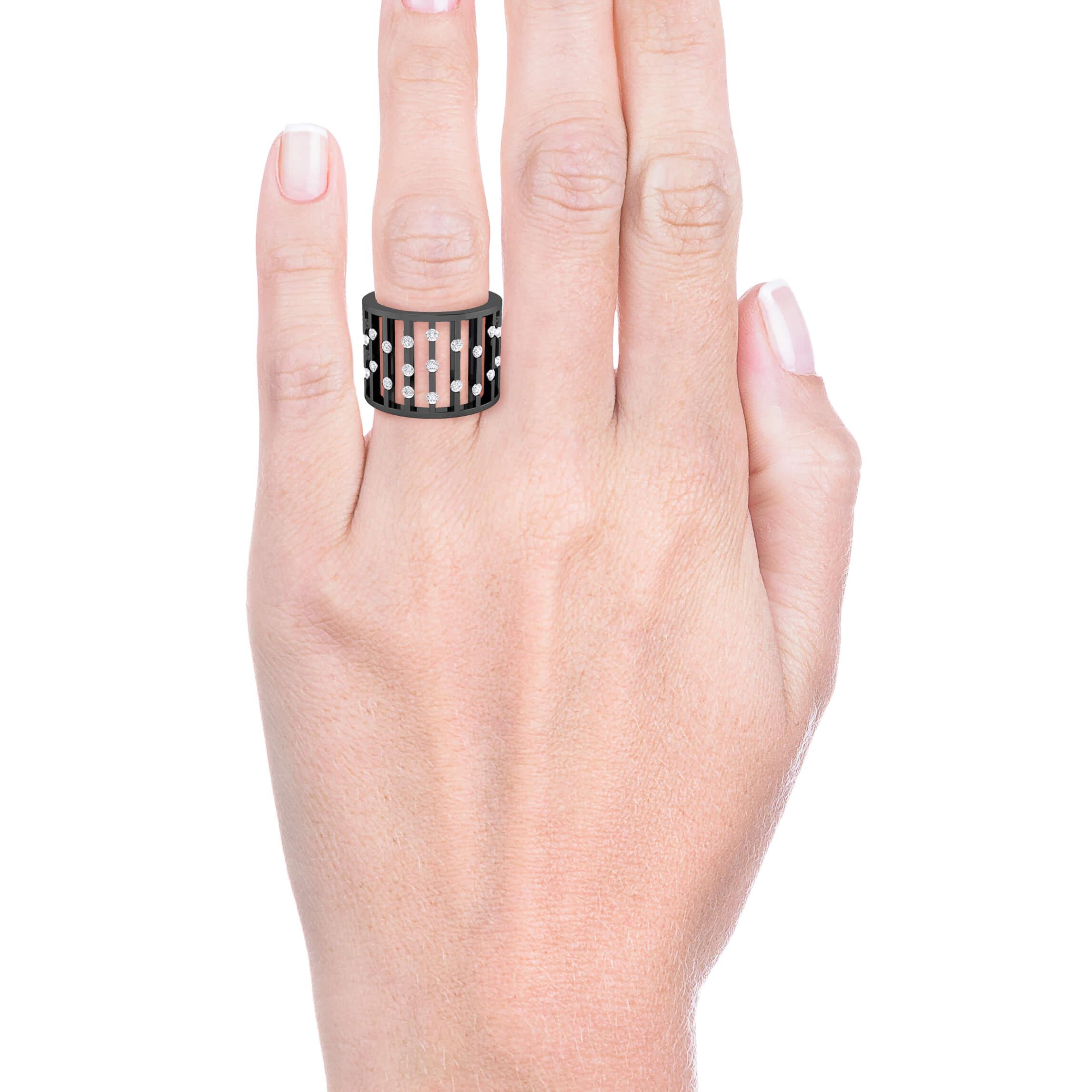Anillo de diamantes de oro negro de 18k rodio negro con 27 diamantes
