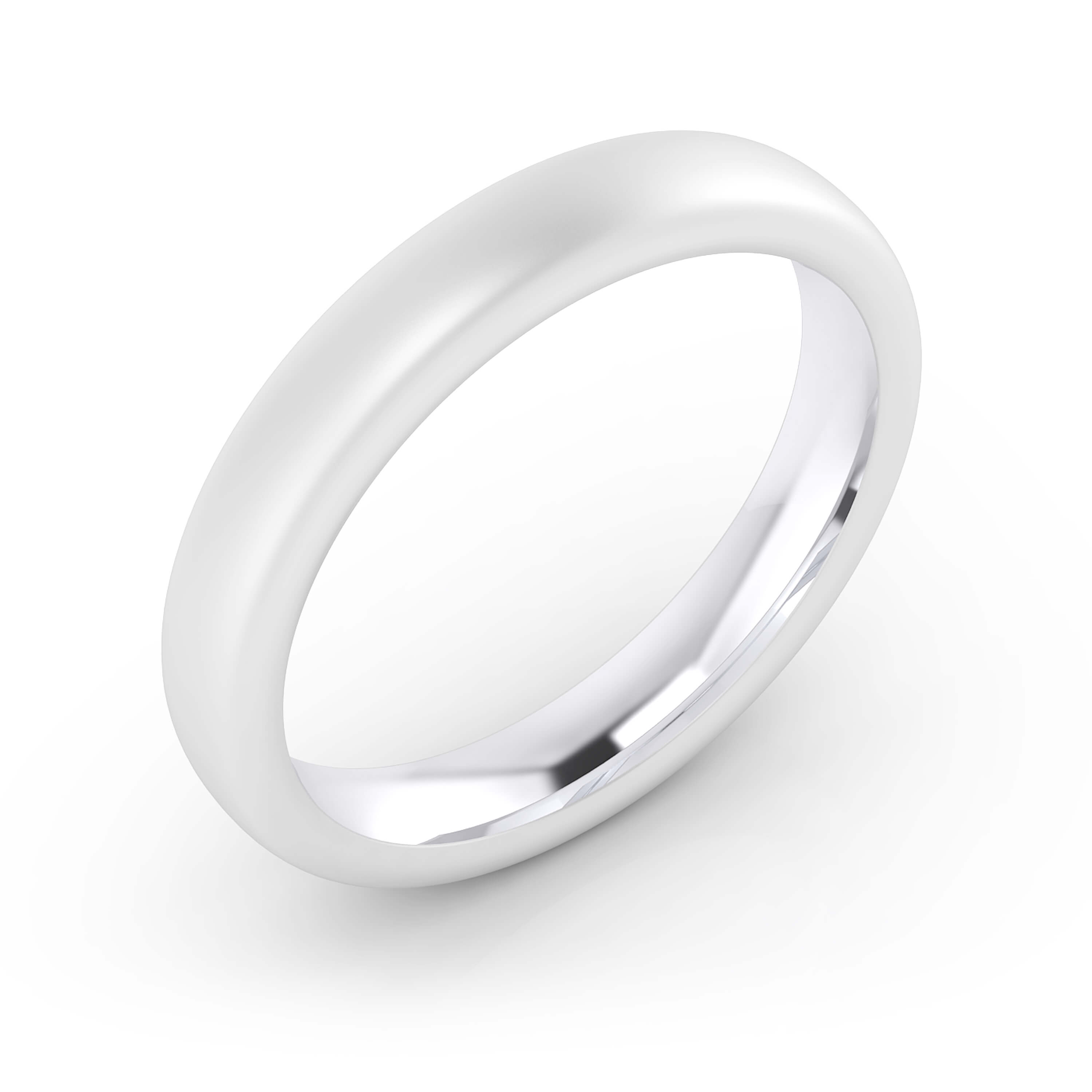 Men's wedding ring 18k white gold matte