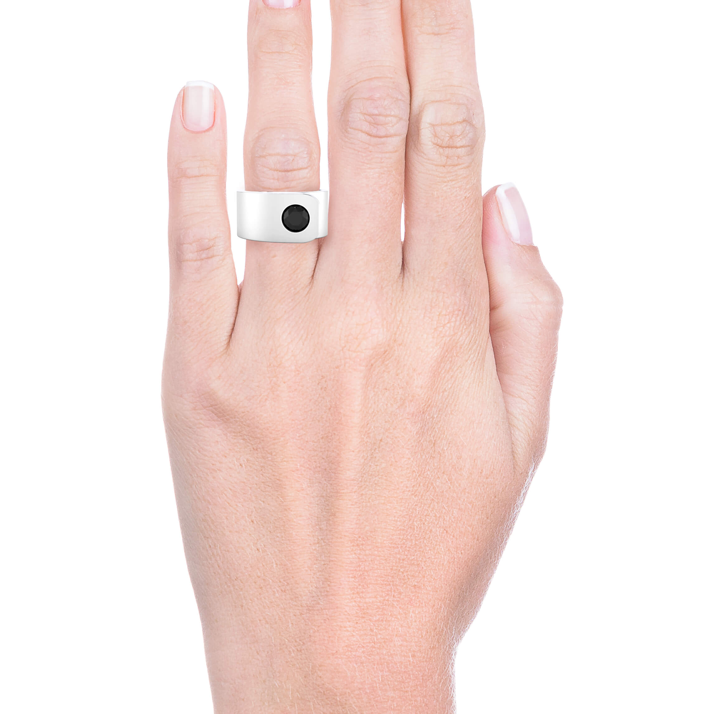 18k gold men ring with a black diamond.