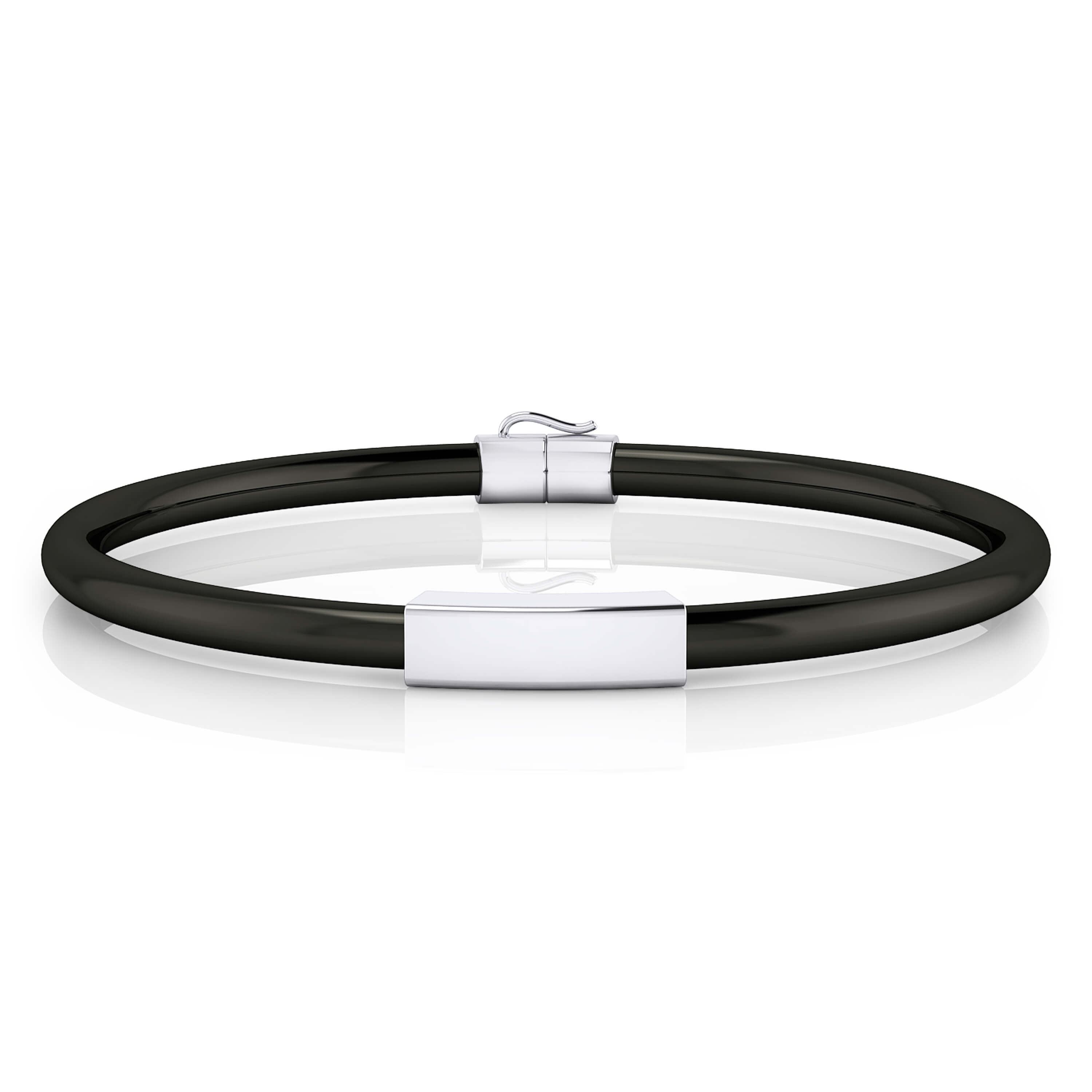 Silver bracelet with black leather cord.