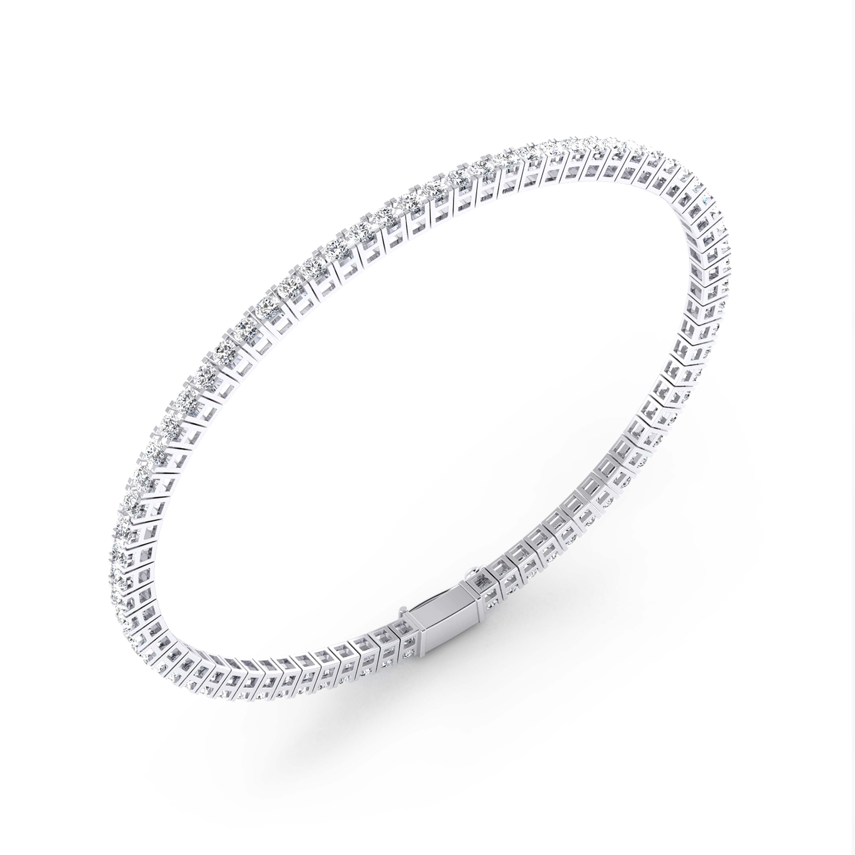 Riviere de diamants d'or blanc 18 quirats amb diamants de 0,03ct - grapa quadrada